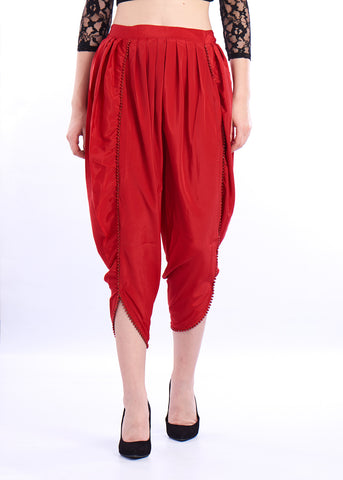 De Moza- Ladies Dhoti Pant Red - De Moza