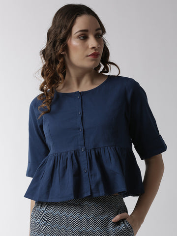 De Moza Women's Half Sleeve Woven Top Solid Cotton Indigo Blue - De Moza