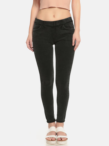 De Moza Ladies Woven Pant Cotton Solid Jeggings Black