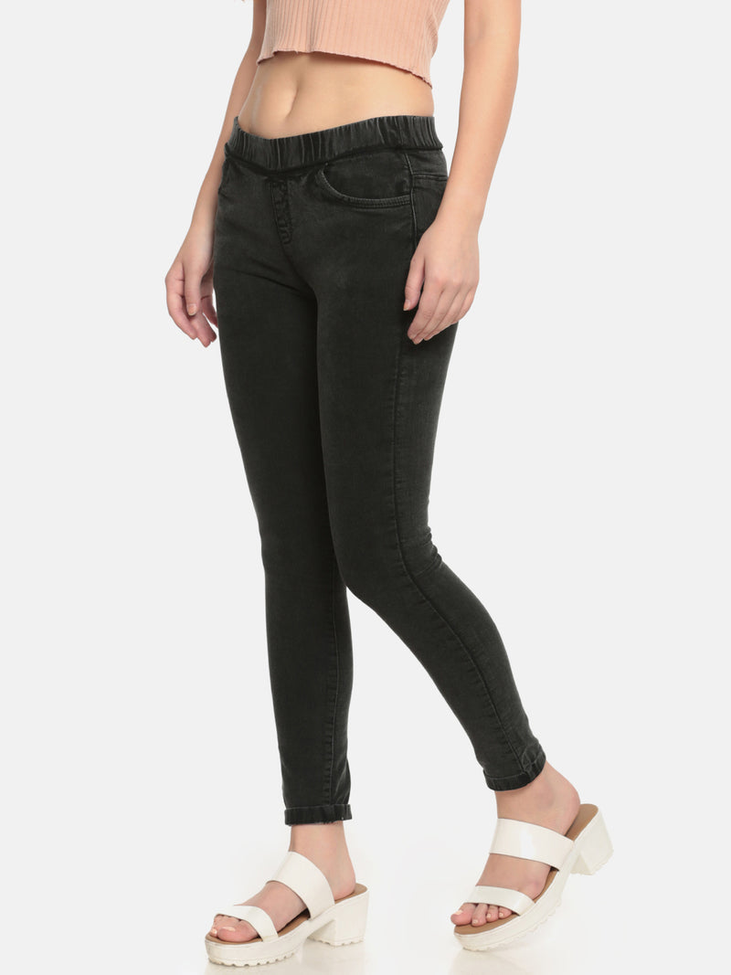 De Moza Ladies Woven Jeggings Pant Black - De Moza