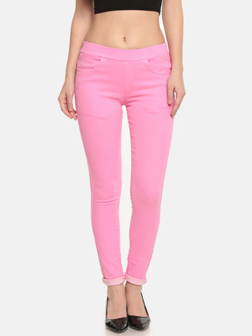 De Moza Ladies Woven Pant Cotton Solid Jeggings Fuchsia