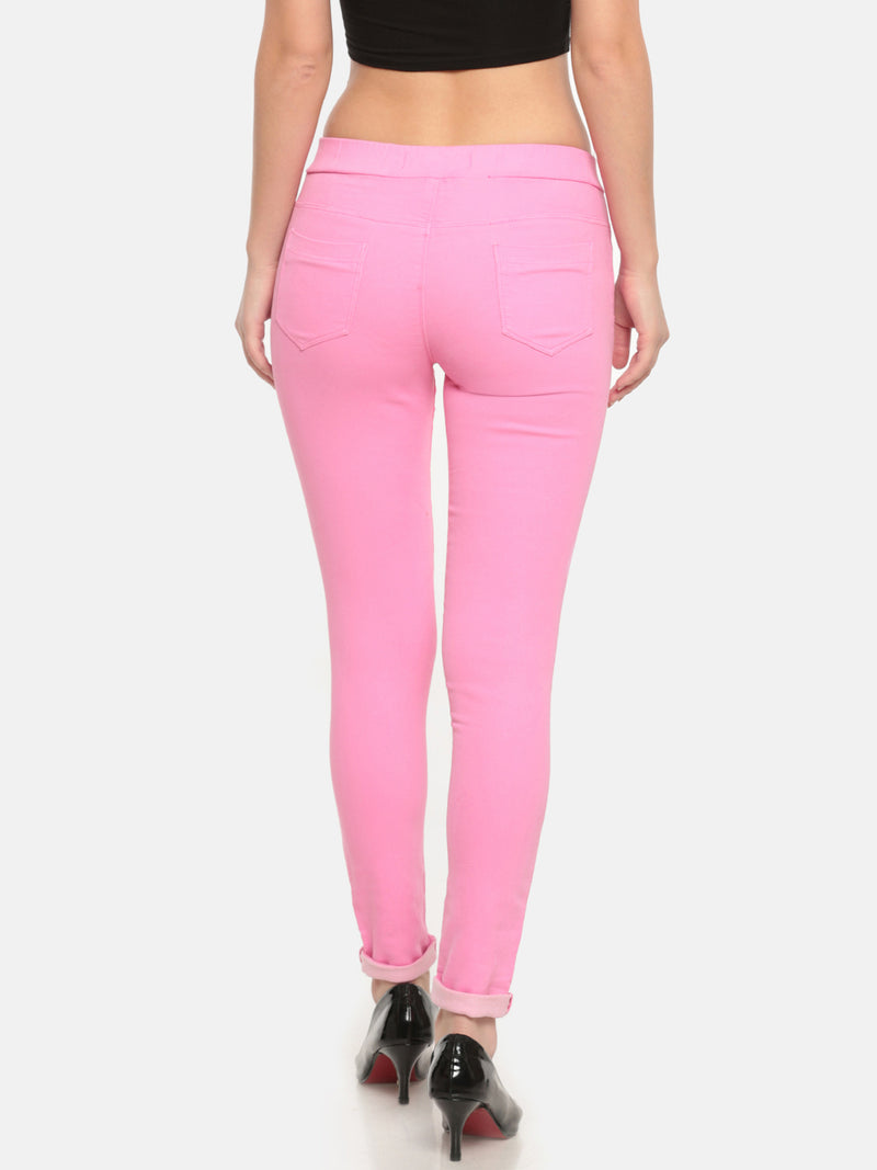 De Moza Ladies Woven Jeggings Pant Fuchsia - De Moza