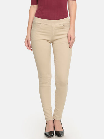 De Moza Ladies Woven Pant Cotton Solid Jeggings Skin