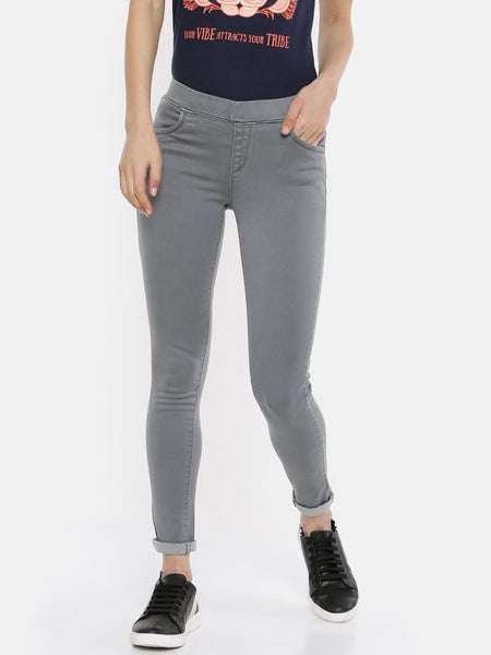 De Moza Women's Jegging Woven Bottom Solid Cotton Dark Grey - De Moza