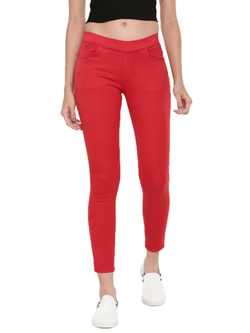 De Moza Ladies Jeggings Woven Bottom Solid Red