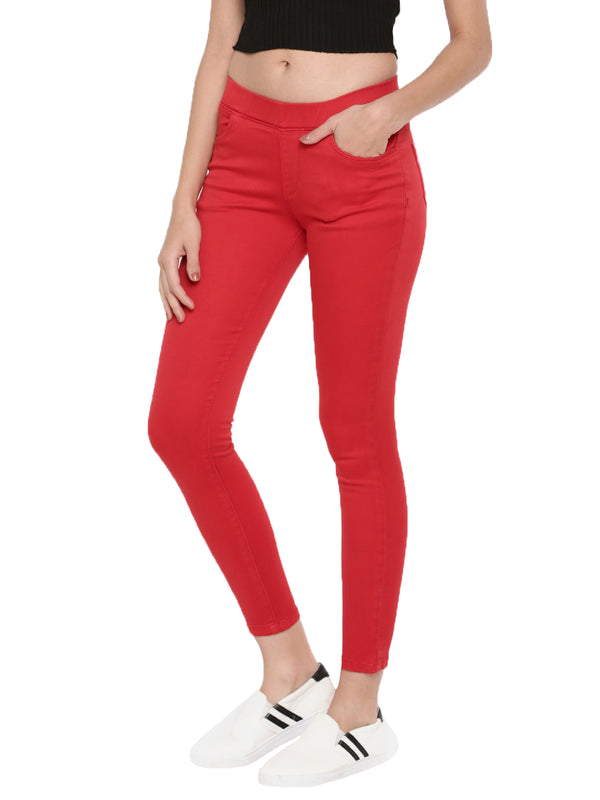 De Moza Ladies Jeggings Woven Bottom Solid Red - De Moza