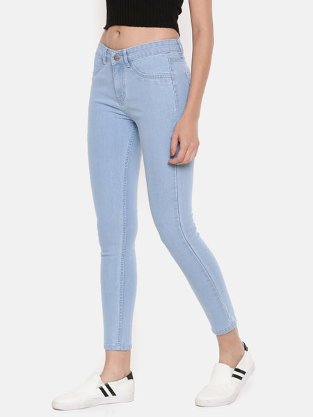 De Moza Women's Jeans Pant Woven Bottom Solid Denim Ice Blue - De Moza