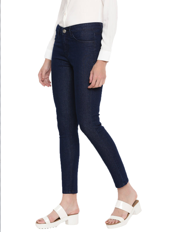 De Moza Ladies Raw Blue Denim Jeans Pant for Ladies - De Moza
