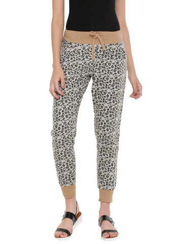 De Moza Ladies Printed Jogger Brown - De Moza