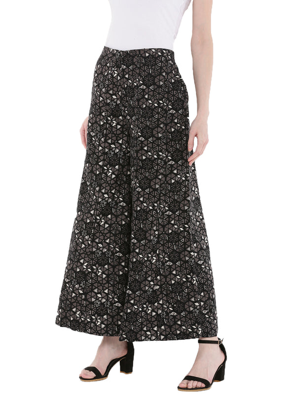 De Moza Ladies Printed Woven Palazzo Black - De Moza