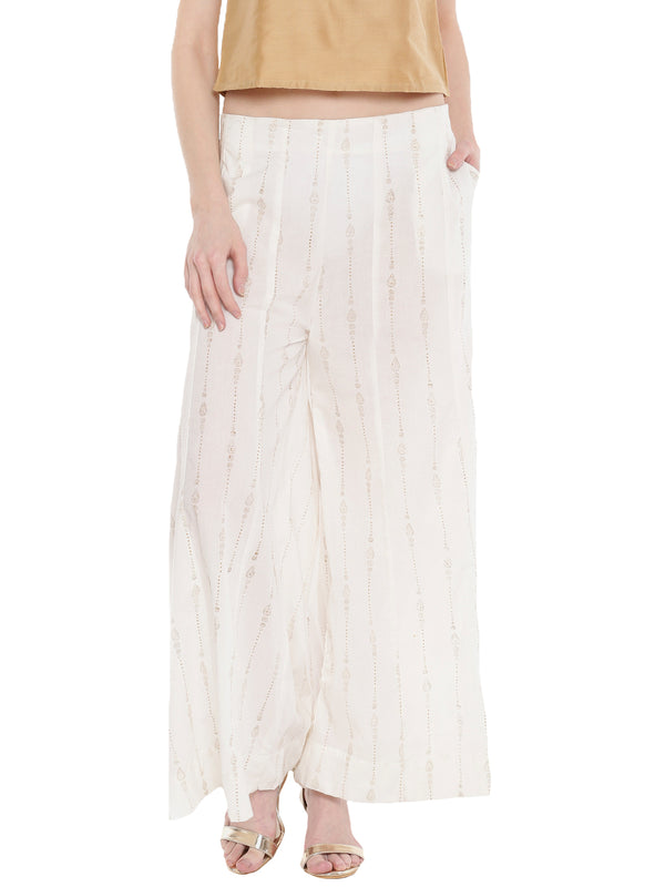 De Moza Ladies  Large Palazzo Woven Bottom All Over Print Offwhite - De Moza