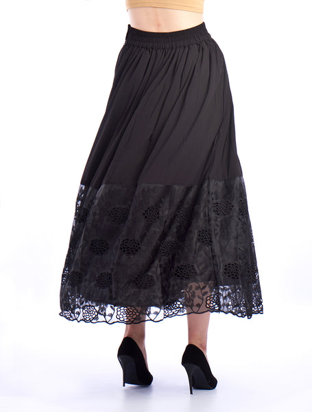 De Moza Ladies Large Skirt Woven Bottom Black - Large Skirt Solid Black for Ladies