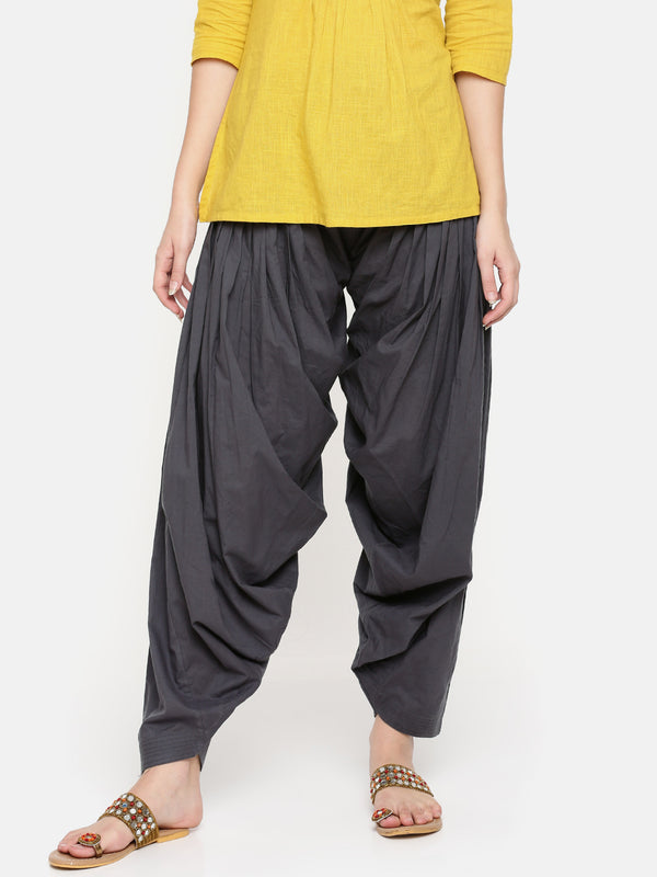 De Moza Ladies Cotton Patiala - Dark Grey - De Moza