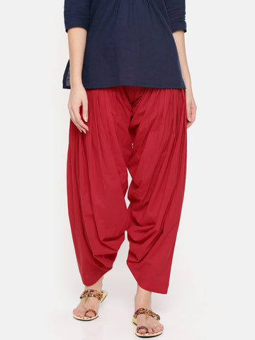 De Moza Ladies Red Solid Patiala- Red Solid Patiala For Ladies