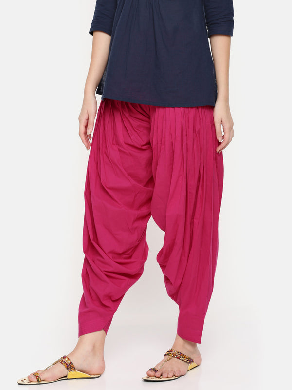 De Moza Ladies Fuchsia Solid Patiala- Fuchsia Solid Patiala For Ladies - De Moza