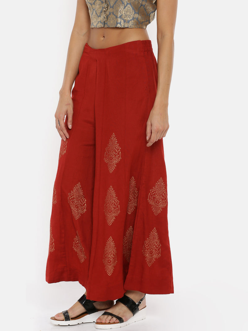De Moza Ladies Printed Red Palazzo - De Moza