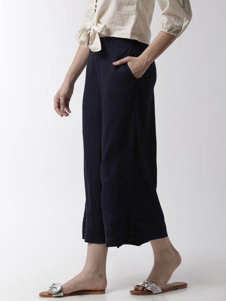 De Moza Women's Crop Palazzo Woven Bottom Rayon Dark Navy Blue - De Moza