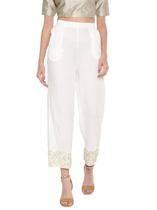 De Moza Ladies White Embroidered Palazzo - De Moza