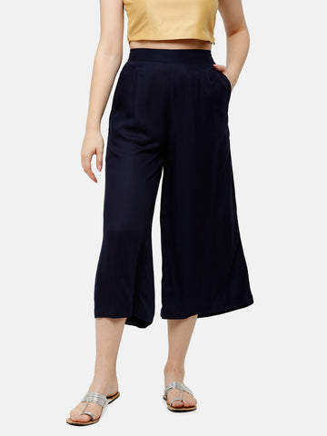 De Moza Women's Crop Palazzo Woven Bottom Solid Rayon Dark Navy Blue - De Moza