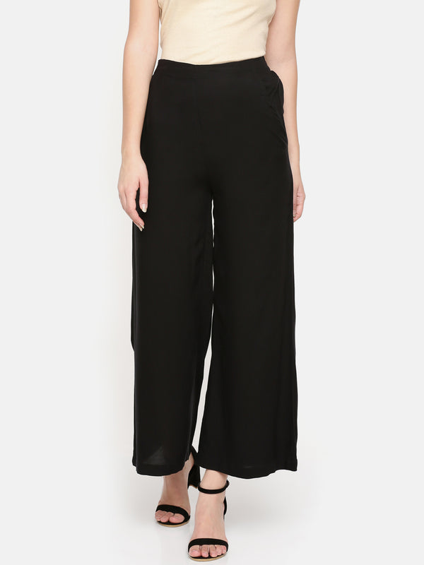 De Moza- Ladies Black Solid Flared Palazzos - De Moza