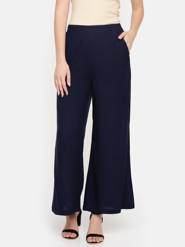 De Moza- Ladies Dark Navy Blue Palazzos - De Moza