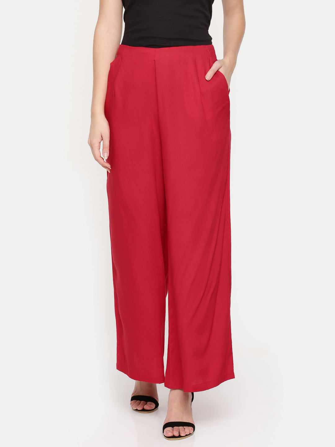 De Moza Ladies Palazzo - Wide Leg Red