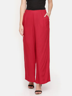 De Moza Ladies Red Solid Flared Palazzos - De Moza