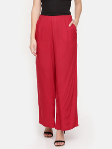 De Moza Ladies Red Solid Flared Palazzos- Red Solid Flared Palazzos