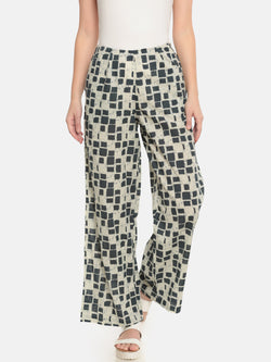 De Moza Ladies Printed Regular Palazzo Dark Grey - De Moza