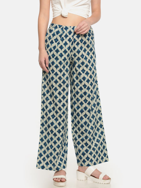 De Moza Ladies Woven Trouser Cotton Printed Regular Palazzo Offwhite