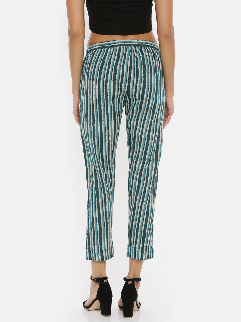 De Moza- Ladies Green Stripes Straight Pant - De Moza