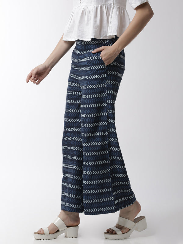 De Moza Women's Printed Palazzo Woven Bottom Cotton Indigo Blue - De Moza