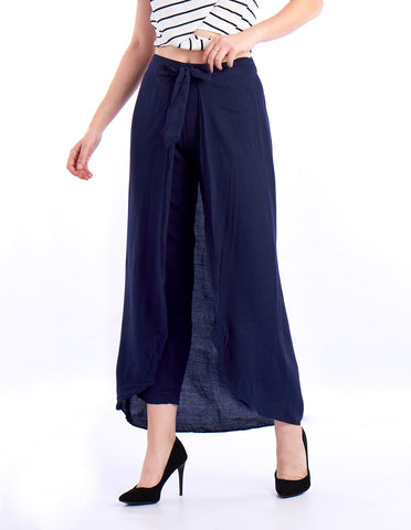 De Moza Ladies Ruffled Skirt Woven Bottom Solid Rayon Indigo Blue
