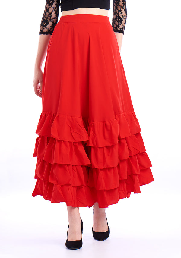 De Moza Ladies Ruffled Skirt Woven Bottom Solid Red - De Moza