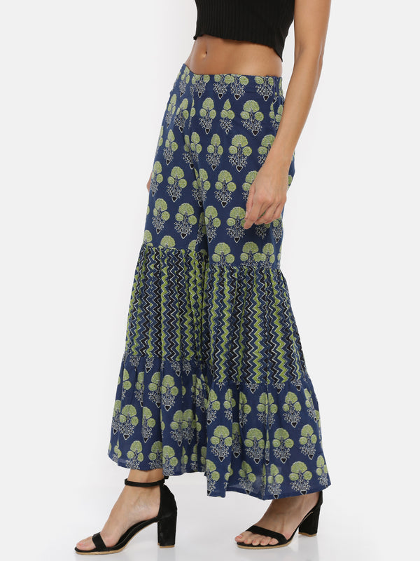 De Moza Ladies Printed Indigo Blue Sharara Pant - De Moza