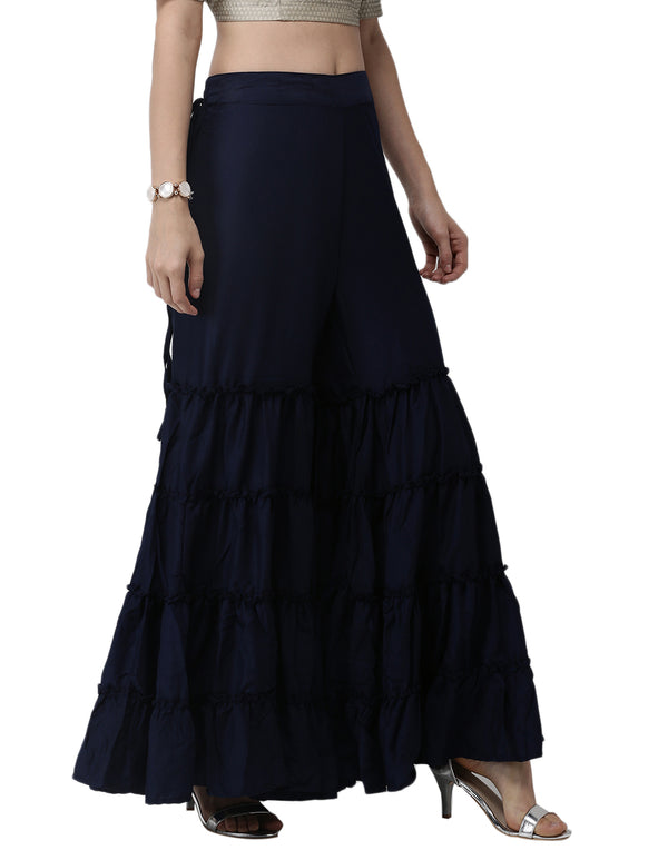 De Moza- Ladies Navy Blue Sharara - De Moza
