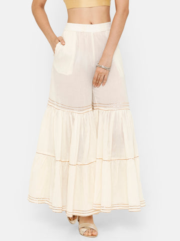 De Moza Women's Sharara Solid Cotton Offwhite - De Moza