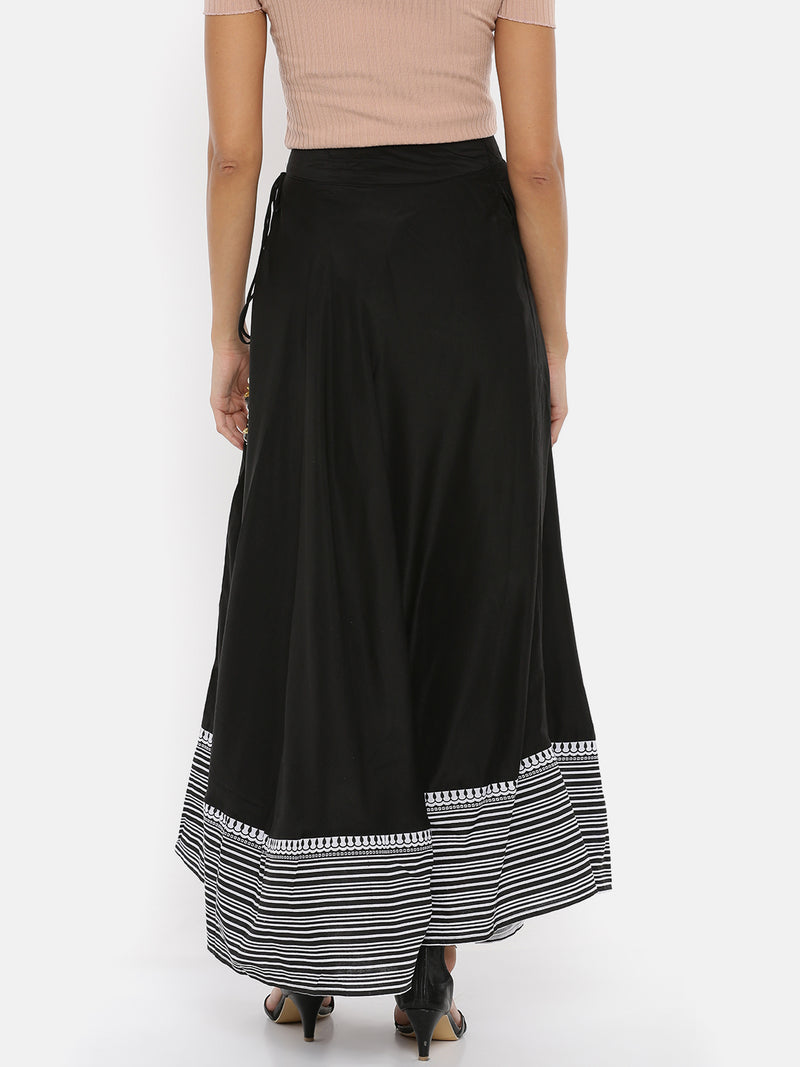 De Moza Ladies Printed Black Skirt - De Moza
