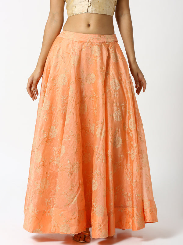 De Moza Ladies Peach Printed Skirt - De Moza