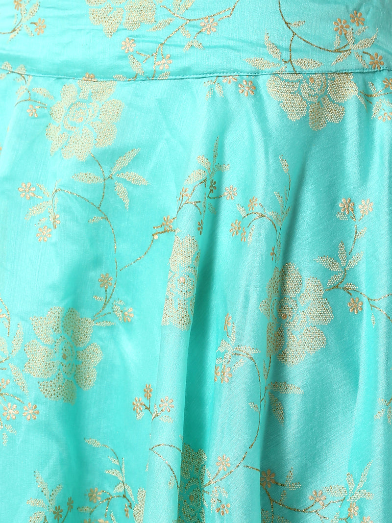 De Moza Ladies Blue Embroidered Skirt - De Moza