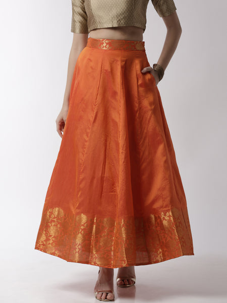 De Moza Women's Skirt Woven Bottom Jaquard Polyester Rust Orange - De Moza
