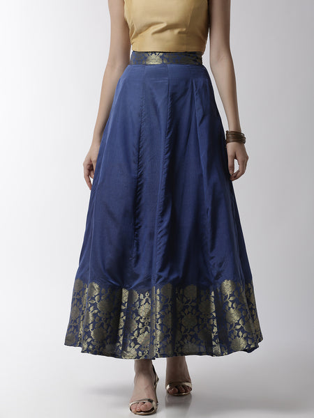 De Moza Women's Skirt Woven Bottom Jaquard Polyester Mid Night Blue - De Moza