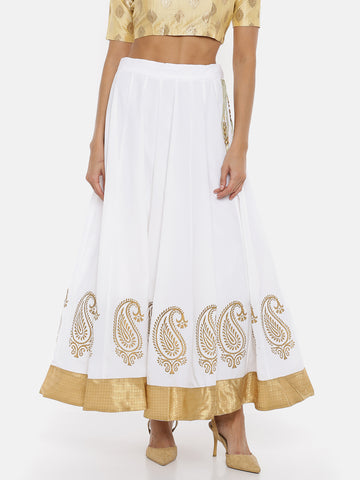 De Moza Ladies Printed white Skirt - De Moza