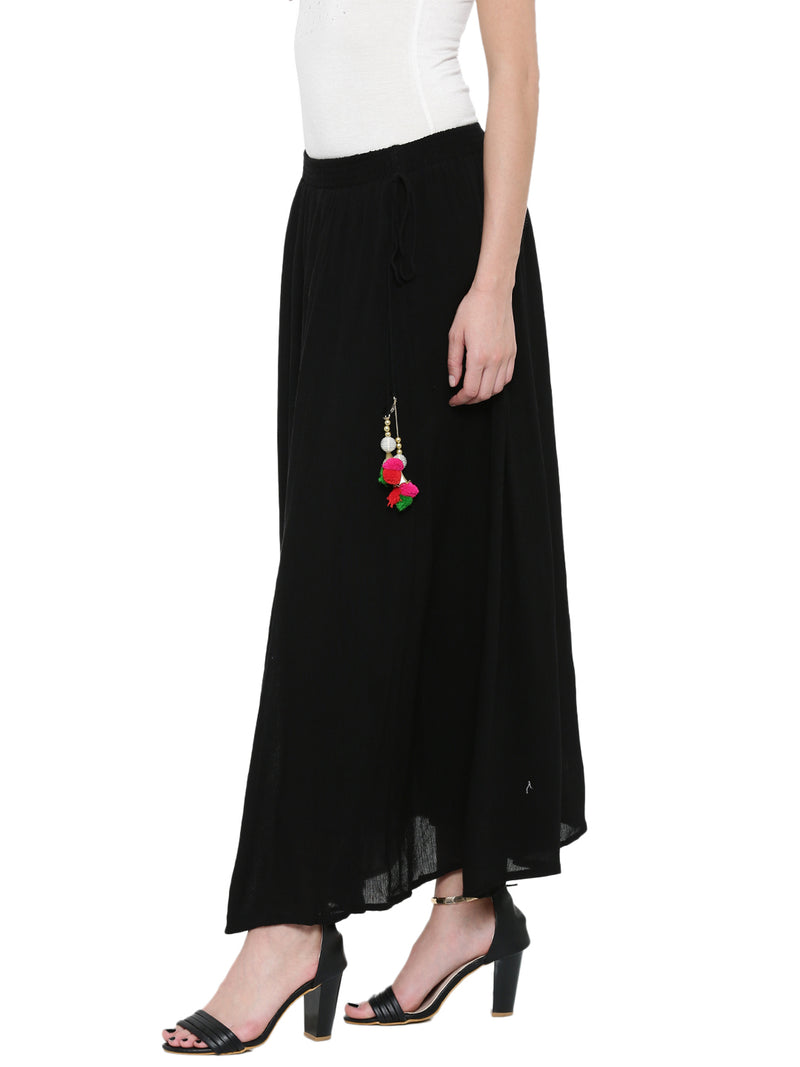 De Moza Black Solid Flared Skirt - De Moza
