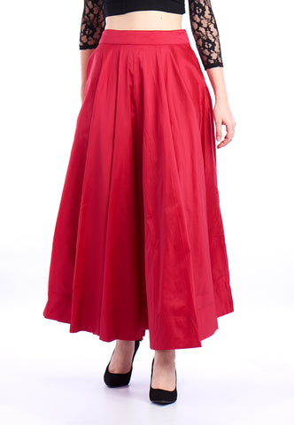 De Moza Ladies Skirt Woven Bottom Solid Polyester Fuchsia - Fuchsia Polyester Skirt for Ladies