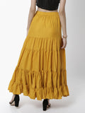 De Moza Women's Skirt Woven Bottom Solid Cotton  Mustard - De Moza