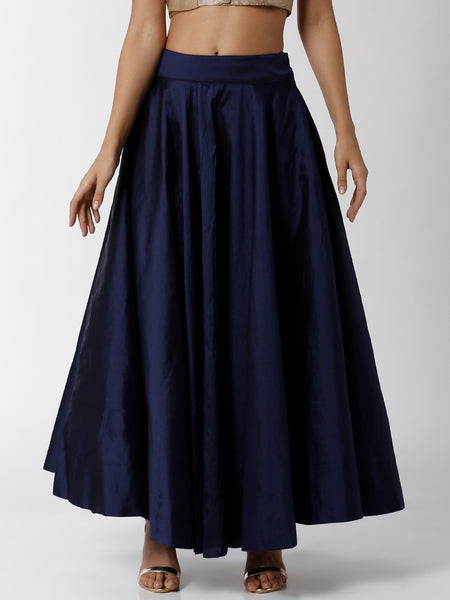De Moza Ladies Skirt Woven Bottom Solid Polyester Mid Night Blue - De Moza