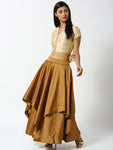De Moza Ladies Gold Beige Skirt - De Moza
