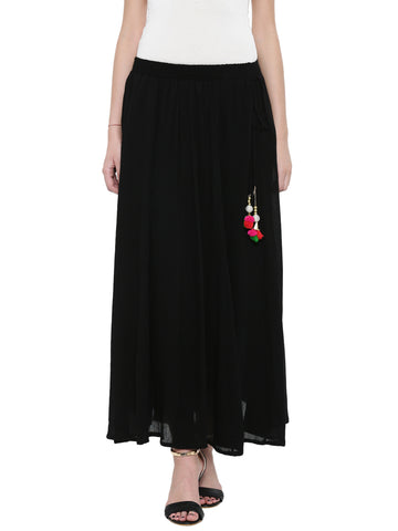De Moza Women's Rayon Crepe Skirt - Black