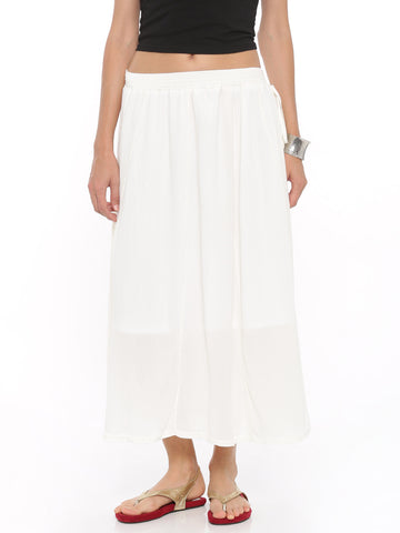 De Moza Women's Rayon Crepe Skirt - Off White - De Moza
